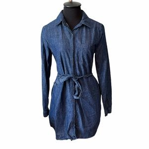 XXI  Blue Jean Denim Long Sleeve Button Up Dress